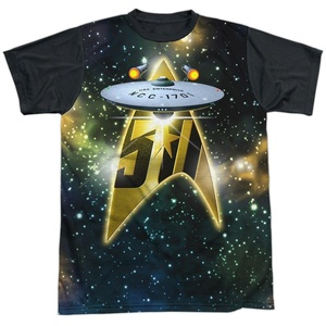 Star Trek 50th Anniversary Enterprise Single Sided Black Sublimation Adult T-shirt (Small)