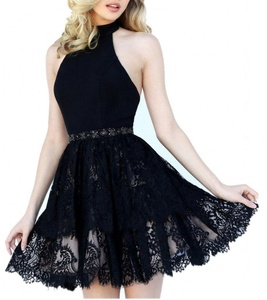Winnie Bride Sexy Halter Short Prom Party Homecoming Graduation Dress with Lace-10-Black