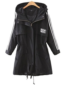 Season Show Women's Drawstring Hooded Zipper Trench Anorak Parka Jackets Black S