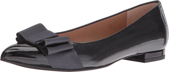 French Sole Women's Onstage Black/Grey Suede/Patent Flat 8 M
