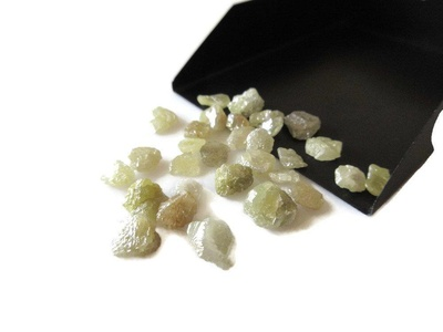 20 Pieces Yellow/Green Raw Flat Back Smooth Diamonds, Wholesale Rough Diamonds, Uncut Diamonds 5mm Each
