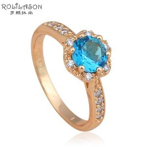 Cherryn Jewelry Topaz fashion jewelry gold plated Blue Crystal Zircon Gold Ring Health jewelry 6 7 8 9 JR2047