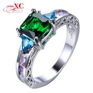 Cherryn Jewelry Fashion Jewelry Emerald Zircon Stone Ring White Gold Filled Finger Ring Valentine's Day RW0902