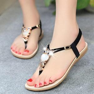 Sufang New Womens Flat Sandal T-strap Thong Flip Flops Shoe Summer Sandals Non-Slip shoes Blue 6