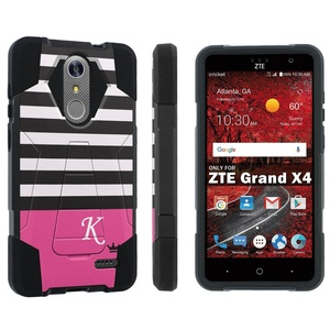 ZTE [Grand X 4] [Z956] Armor Case [Skinguardz] [Black/Black] Advance Defender [Kick Stand] - [Black Pink Stripe K Monogram] for ZTE [Grand X 4] [GrandX4]