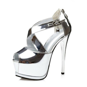 Women's Patent Leather Ankle Straps Sexy High Heel Sandal Pumps Silver EU Size 36-6 B(M) US