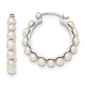 .925 Sterling Silver 4-5MM White Freshwater Cultured Pearl Hoop Earrings