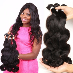 shuangya hair Grade 8A Virgin Remy Peruvian Body Wave 3 Bundles Human Hair Weave Extensions Natural Black Color Hair Weft(14inch 14inch 16inch)