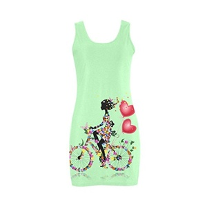 Abbie Miller Sketch Custom Women's Polyester Vest Dress Light Green