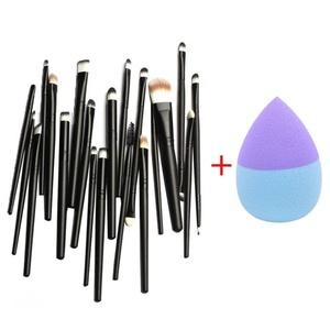 BESSKY 20PCS Makeup Brush Set Dotting Cosmetic Tools Shadow Pen Eyeliner Brush+1 PC Foundation Puff Sponges