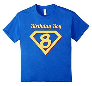 Kids 8th Birthday Boy Gift Super Hero T-Shirt 12 Royal Blue