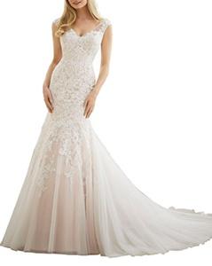 Meledy Women's V-Neckline Vintage Lace Appliques Mermaid Full Back Zipper Soft Tulle Long Bridal Wedding Dress White US8