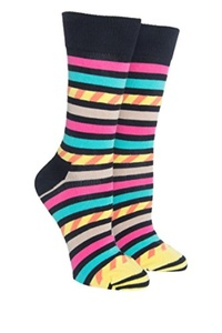 Unisex Stripes + Stripes Crew Sock - Black