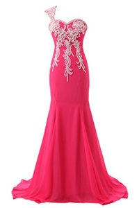 Winnie Bride Captivating Long Prom Pageant Gown One Shoulder Evening Party Dress-22W-Deep Pink