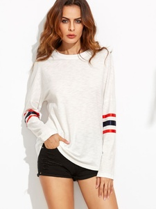White Striped Long Sleeve Casual T-shirt