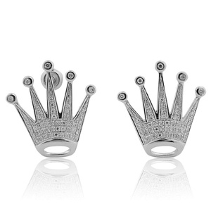 White Gold Crown Earrings With Diamonds 0.40ctw 10K 20mm(i2/i3, i/j)