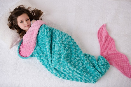 Minky Mermaid Tai Sleep Blanket