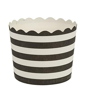 Blue Sky 1254 16 Count Scalloped Stripe Cupcake Baking Cups, Large, Black/White by Blue Sky