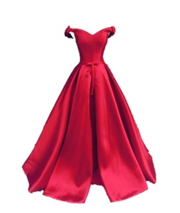 Winnie Bride Women's Off-the-Shoulder Formal Evening Party Dress with Bowknot-8-Red