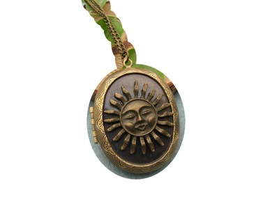 Large Sun Locket Necklace, Ocean Beach Solar Planet Jewelry Statement Necklace Sun Face ,