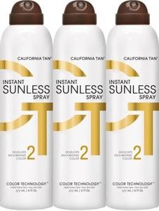 Lot of 3 California Tan Instant Sunless Spray, Dark 6oz