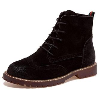 D2C Beauty Women's Originals Leather Leather Lace-up Comba Boots- Black 9 M US