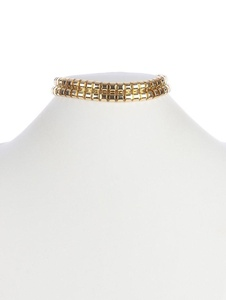 Gold hollow chain choker double layer necklace Fashion Jewelry FancyCharm