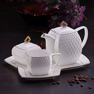 Pastel Home Pure white bone china coffee tea 4 piece set Style B