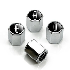 Lincoln Silver Logo Chrome Tire Stem Valve Caps by Lincoln