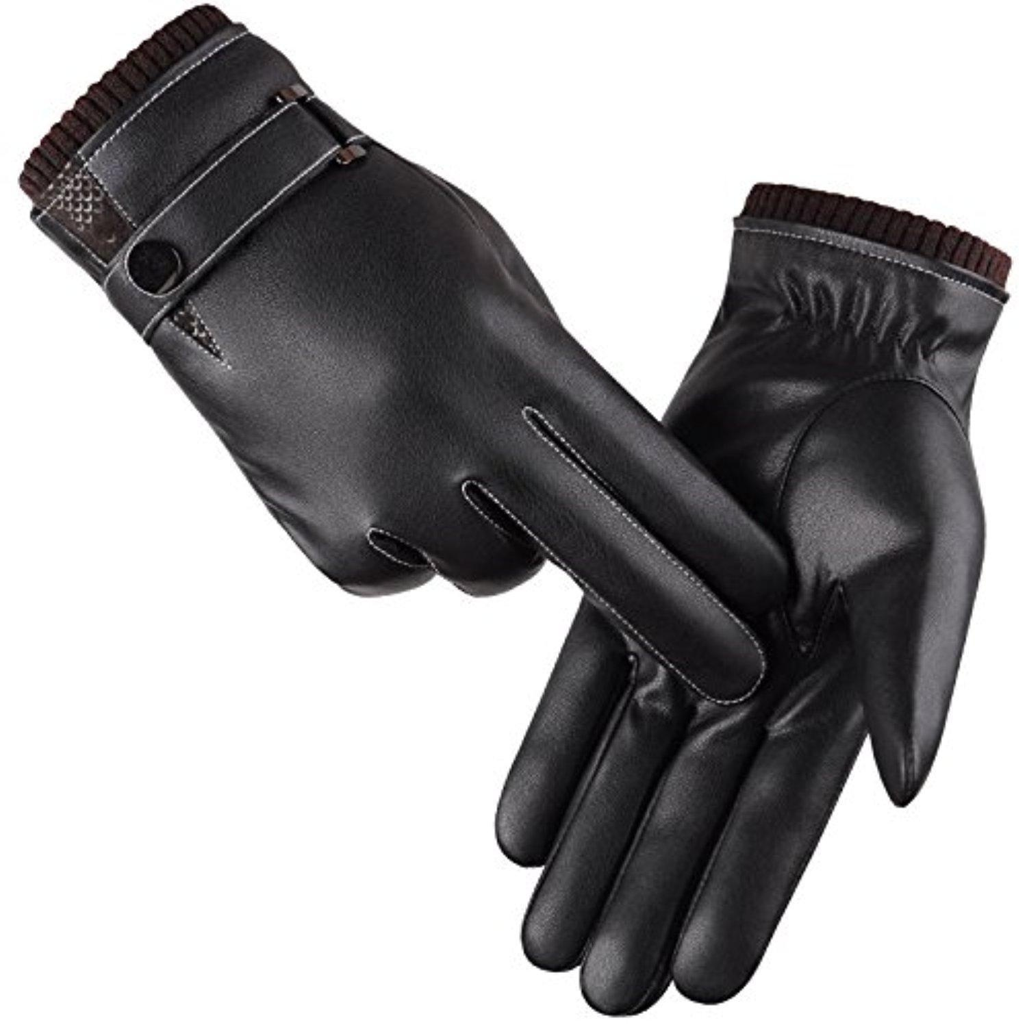 Driving gloves winter - Men S Winter Gloves Pu Leather Driving Gloves Touchscreen Technology