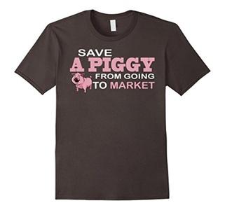 Men's Save A Piggy From Going To Market Vegan T Shirt Medium Asphalt