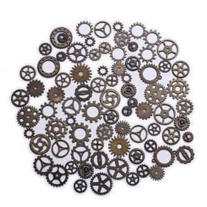 DECORA 100 Gram Assorted Antique Steampunk Gears Charms Pendant Clock Watch Wheel Gear for Crafting, Jewelry Making Accessory(Bronze)