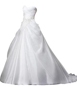 Rachel Weisz Women's Organza Sweetheart Ruffles Appliques Wedding Dresses Bride Evening Ball Gown White US4