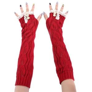 Women Fingerless Knitted GlovesHN Arm Warmer Winter Gloves Women Ladies Girls (Red)