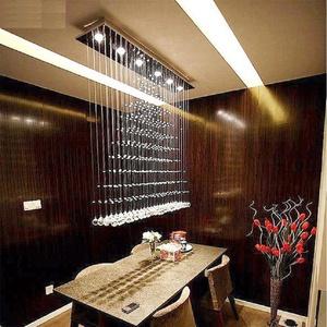 Continental Rectangular Crystal LED bedroom crystal curtain bar cut off the living room chandelier , 100cm Pendant Lights