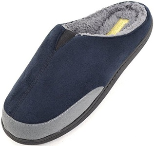 Mens Microsuede Slip On Mules / Slippers with Warm Micro Fleece Lining - Black - Small - 9 US