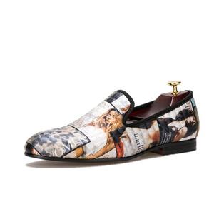 HI&HANN Magazine-style Graffiti Men's Loafer Shoes Slip-on Loafer Round Toes Smoking Slipper-8.5-Multi