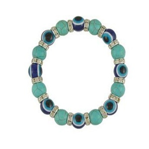 Leobeads Cat's Eye Opal Natural Turquoise Stone 17mm Bead Evil Eye Charm Bracelet Adjustable