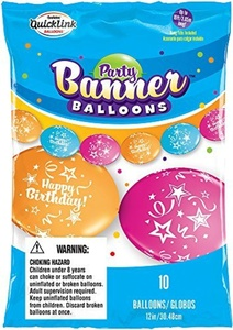 Party Banner Balloons 10 Count Happy Birthday QuickLink Banner Balloons, 12-Inch by Party Banner Balloons