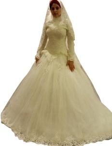 JoyVany Long Sleeves Muslim Wedding Dress Ghana Wedding Dresses Lace Bride Dress White Size 8