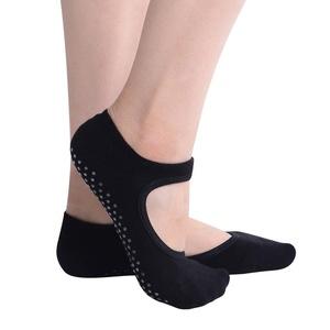 Womens Cotton Backless Yoga Socks Short Non Slip Skid Grip Socks (Black)