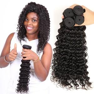 shuangya hair Deep Wave Peruvian Virgin Hair 4 Bundles 8A Unprocessed Remy Extensions Human Hair Deep Curly Weave Natural Black(18