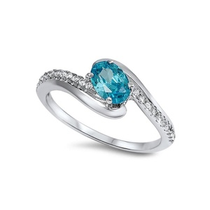 Bypass Wedding Engagement Bridal Ring Oval Cut Simulated Blue Topaz Round CZ 925 Sterling Silver