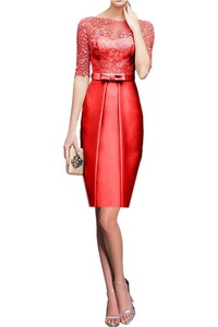 Vienna Bride Formal Evening Prom Dress For Wedding 1/2 Sleeves Lace Satin-6-Red(Short)