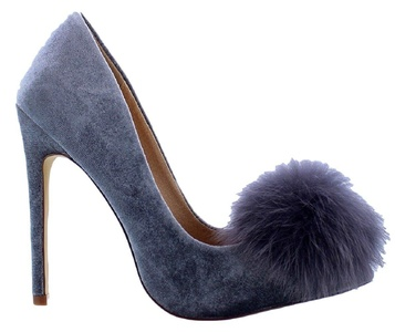 Liliana Affair Velvet Pointy Toe Stiletto High Heel Fur Pom Slip On Pump Slide Shoe Gray 8.5