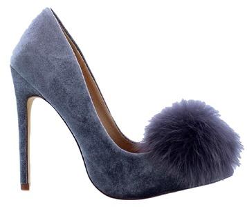 Liliana Affair Velvet Pointy Toe Stiletto High Heel Fur Pom Slip On Pump Slide Shoe Gray 8.5