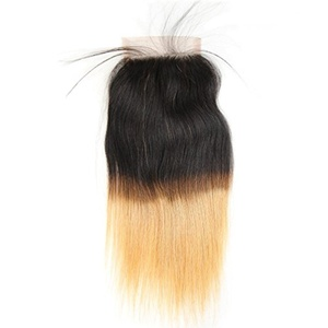 Hotbaby Hair Brazilian Hair Weaving Wet And Wavy Human Hair Lace Closure Straight Virgin Hair Brazilian Straight Hair 1B/27 Ombre Human Hair