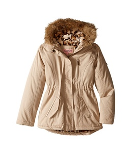 (5404) Urban Republic Girls Twill Anorak Lined Jacket With Faux Fur Trimmed Hood in Stone Size: 6X