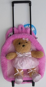 Rolling Plush Pink Backpack Teddy Bear Ballerina Removable Toy & Wheels New by 2 in 1 Plush Wheeled Backpack