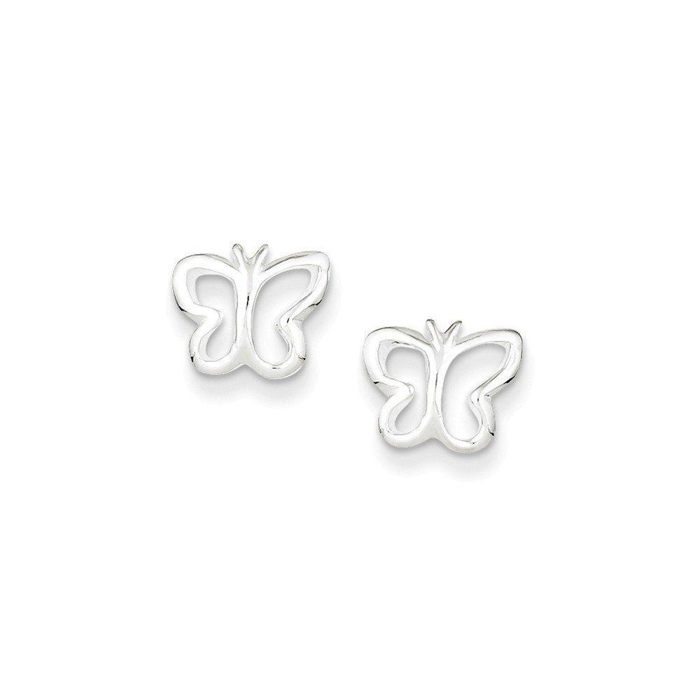 .925 Sterling Silver 9 MM Children's Butterfly Mini Post Stud Earrings